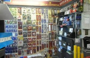 Hardware section of Anglia Locksmiths recently refurbished shop